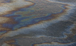 A sheen of oil floats on the surface of the Gulf of Mexico near Gulf Shores, Alabama on June 19, 2010. The BP oil spill began when the Transocean Deepwater Horizon oil rig exploded on April 20. Photo by Kari Goodnough/Bloomberg via Getty Images