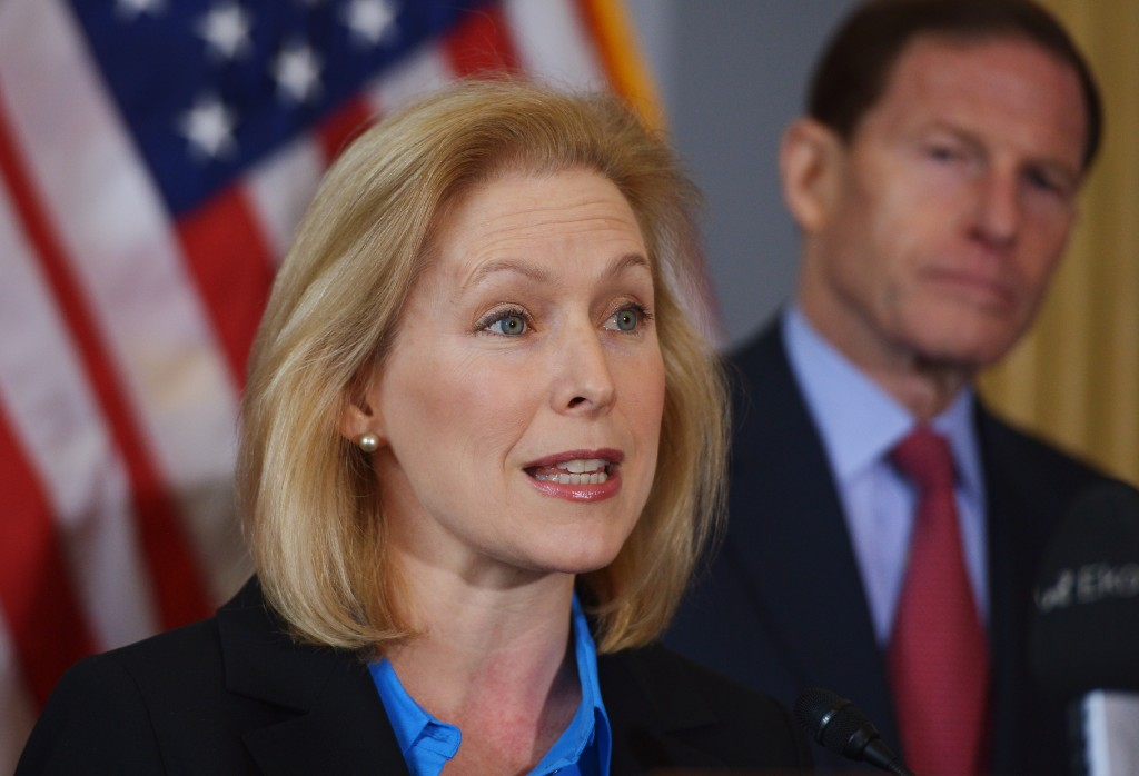 Sen. Kirsten Gillibrand, D-N.Y. speaks during a press conference calling for the creation of an independent military justice system for deal with sexual harassment and assault in the military on February 6, 2014. At right is Senator Richard Blumenthal, D-CT. Photo by Mandel Ngan/AFP/Getty Images