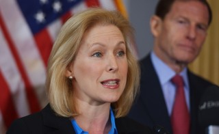 Sen. Kirsten Gillibrand, D-N.Y. speaks during a press conference calling for the creation of an independent military justice system for deal with sexual harassment and assault in the military on February 6, 2014. Ngan/AFP/Getty Images