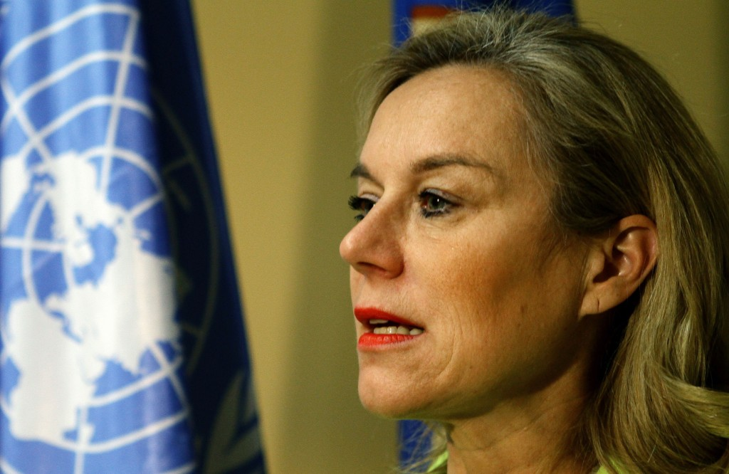 Sigrid Kaag, head of the joint Organisation for the Prohibition of Chemical Weapons-United Nations mission for the destruction of Syria's chemical weapons, said the Syrian government plans to accelerate the weapons removal and destruction in order to complete the process on schedule. Photo by Louai Beshara/AFP/Getty Images