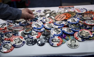 Republican campaign buttons are seen during the Conservative Political Action Conference Thursday in National Harbor, Maryland. Photo by BRENDAN SMIALOWSKI/AFP/Getty Images