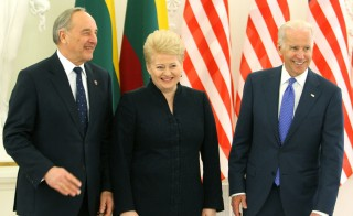 Latvian President Andris Berzins (L), US Vice President Joe Biden (L), Lithuania's President Dalia Grybauskaite pose prior to a meeting in Vilnius on March 19, 2014. Biden meets today with Lithuanian and Latvian leaders as part of a tour to reassure NATO allies during the Ukraine crisis.  AFP PHOTO / PETRAS MALUKAS        (Photo credit should read PETRAS MALUKAS/AFP/Getty Images)