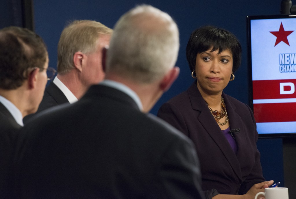 D.C. Democratic Mayoral Candidate Muriel Bowser during debate live at News Channel 8 in Arlington, VA on March 13, 2014. Attending were Tommy Wells, Vincent Gray, Jack Evans, and Muriel Bowser. Photo by Linda Davidson / The Washington Post via Getty Images.