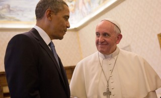 President Barack Obama meets Pope Francis at his private library in the Apostolic Palace on March 27, 2014 in Vatican City. Photo by Vatican Pool/Getty Images