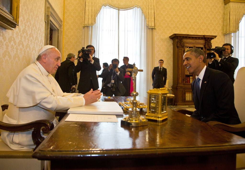 President Barack Obama meets Pope Francis at his private library in the Apostolic Palace on March 27, 2014 in Vatican City, Vatican. Photo by Vatican Pool/Getty Images