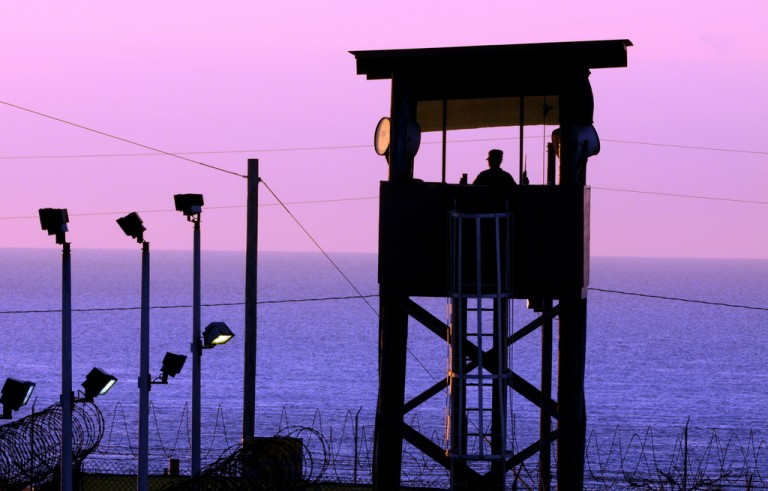 A lookout post at the U.S. base in Guantanamo Bay, Cuba. Photo by the National Guard.