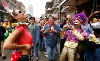 Revelers with cameras crowd Bourbon Street on February 20, 2007. Photo by Chris Graythen/Getty Images