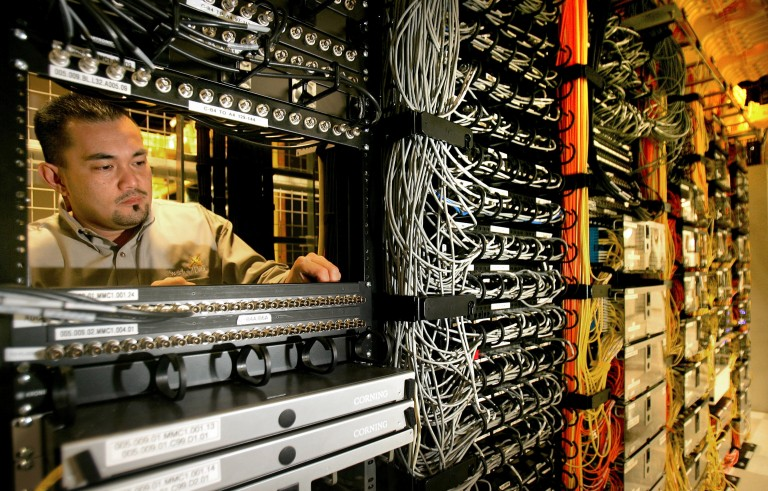 A data center in Palo Alto, California hosts one of the primary internet traffic 'switch' points in the United States. Photo by Tony Avelar/The Christian Science Monitor/Getty Images