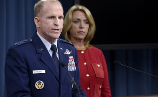Maj. Gen. James F. Martin Jr. and Secretary of the Air Force Deborah Lee James provide updates on the Malmstrom Air Force Base test compromise investigation findings to the Pentagon Press CorpsThursday. Photo by Scott M. Ash/U.S. Air Force