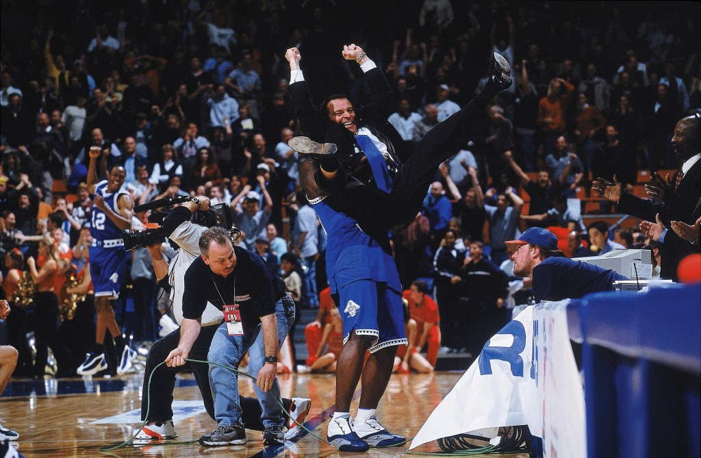 It was the perfect Cinderalla story: 15-seed Hampton upset 2-seed Iowa State in 2001, The image that lives on from that game is Hampton coach Steve Merfeld being victoriously lifted by a player. Photo by Robert Beck/Sports Illustrated/Getty Images