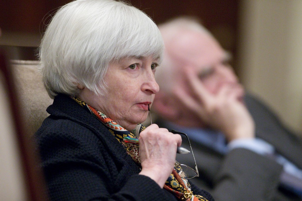 Fed Chairwoman Janet Yellen, seen in this February file photo,  said . Photo by Andrew Harrer/Bloomberg via Getty Images