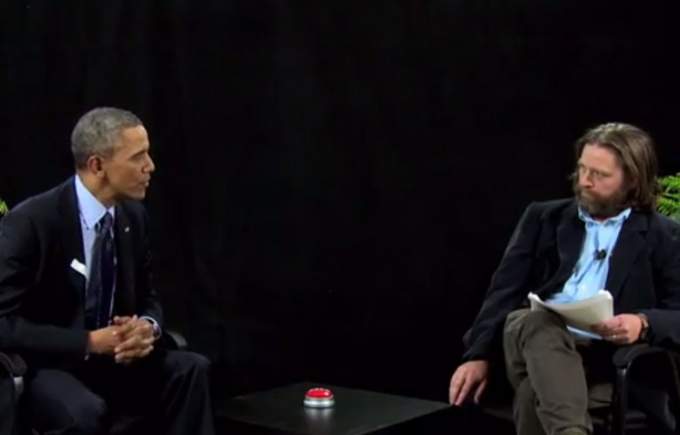 "President Obama appeared on the Funny or Die online show, ""Between Two Ferns,"" Tuesday."