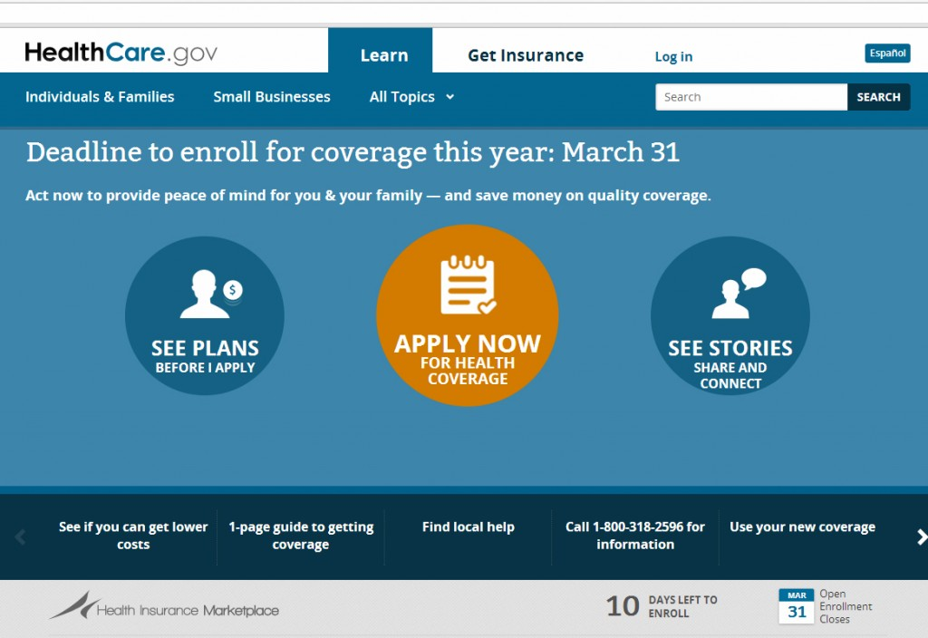The deadline to get insurance without a penalty is March 31. Screengrab from HealthCare.Gov