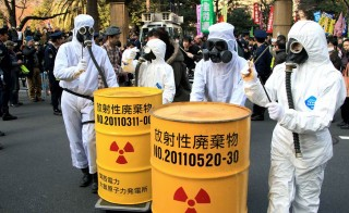 Anti-nuclear protesters rally on March 9 in Tokyo, two days before Japan commemorated the third anniversary of the magnitude 9.0 earthquake and tsunami that caused a massive failure at the Fukushima Daiichi nuclear power plant. Photo by The Asahi Shimbun via Getty Images
