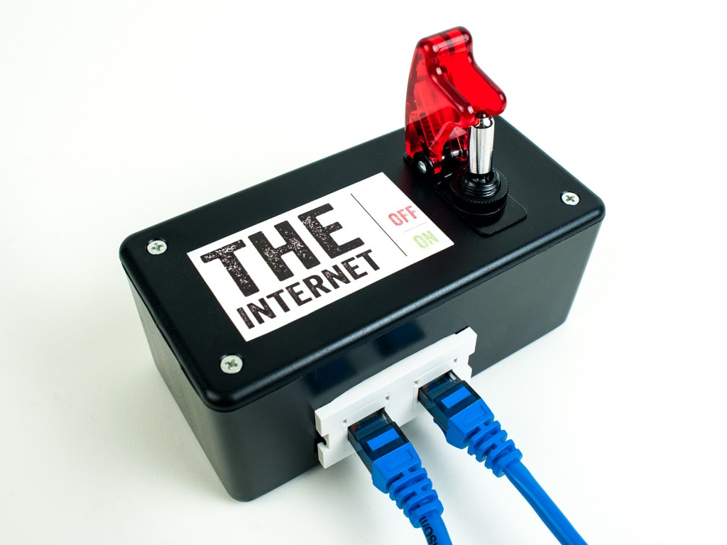 The internet kill switch, a Maker project that enables users to disconnect from the World Wide Web to protect their privacy. Photo from Makezine