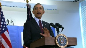 President Obama speaks on the proposal in a classroom at Powell Elementary School in the Petworth neighborhood of Washington, D.C. Video still by PBS NewsHour