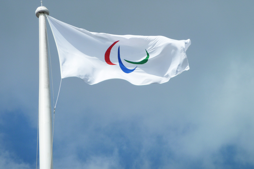 Paralympic flag. Photo by Flickr user The Department for Culture, Media and Sport