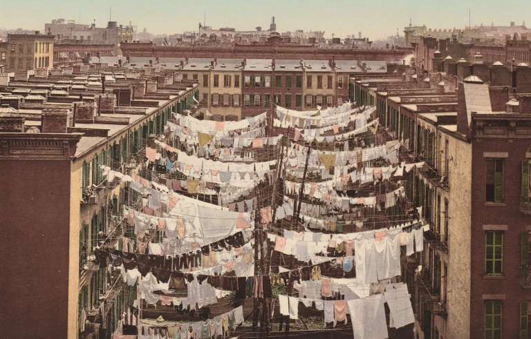"""A Monday Washing,"" New York,"" 1900, photocrom. Detroit Photographic Collection. Courtesy of National Gallery of Art Open Access."
