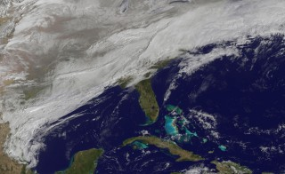 A NASA satellite image shows the eastern U.S. on March 3. Photo by NOAA-NASA GOES Project