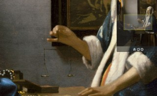 Detail of Woman Holding a Balance by Johannes Vermeer, 1664