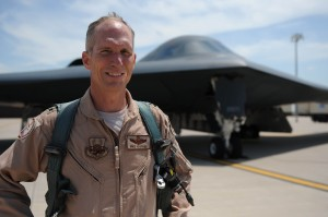 Lt. Gen. Mike Hostage, U.S. Air Forces Central Command commander, stands in front of a B-2 Stealth Bomber at Whiteman Air Force Base in Mo U.S. Air Force photo by Senior Airman Carlin Leslie