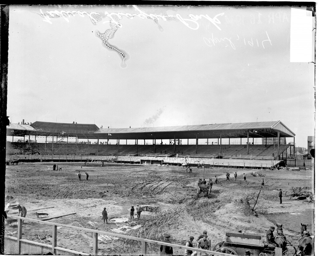 Construction taking place at Weeghman Park, which would later become Wrigley Field, in 1914.  Photo by Chicago History Museum/Getty Images