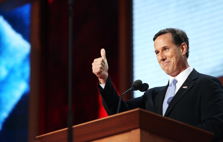 TAMPA, FL - AUGUST 28: Former U.S. Sen. Rick Santorum gestures as he walks on stage during the Republican National Convention at the Tampa Bay Times Forum on August 28, 2012 in Tampa, Florida. Today is the first full session of the RNC after the start was delayed due to Tropical Storm Isaac. (Photo by Spencer Platt/Getty Images)