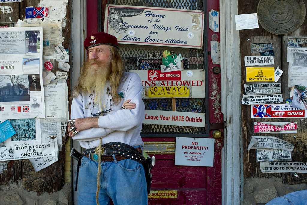 Dent Myer, owner of Wildman's Civil War Surplus, stands outside his store in Kennesaw, Georgia. Gov. Nathan Deal signed a broad gun rights expansion bill Wednesday. Photo by Chris Rank/Bloomberg via Getty Images