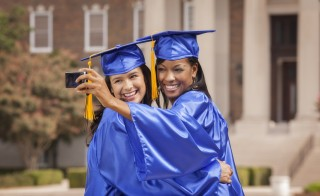 The diploma stand at Bryant University is a no-selfie zone this year. Photo by Getty Images