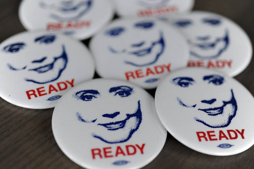 Hundreds of Hillary Clinton campaign buttons are ready to be shipped to Clinton supporters by Ready For Hillary, a PAC urging Hillary Clinton to run for president in 2016 from its headquarters in Rosslyn, VA. Photo by Astrid Riecken/Getty Images