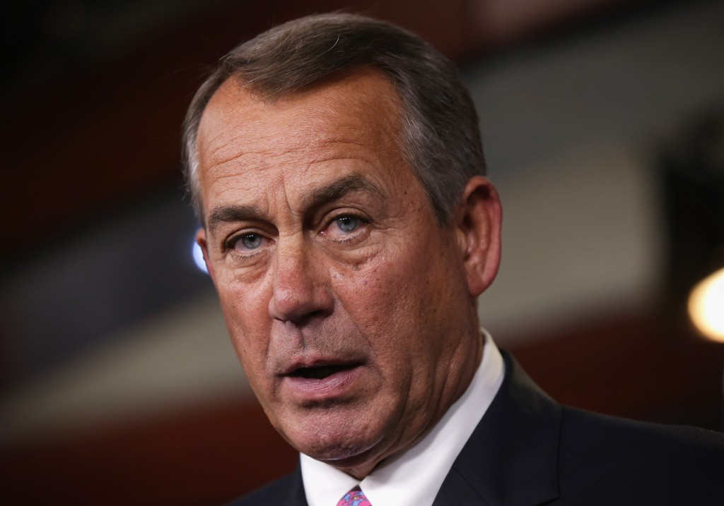 U.S. Speaker of the House Rep. John Boehner, R-Ohio, speaks during his weekly news conference on March 26, 2014. Photo by Alex Wong/Getty Images