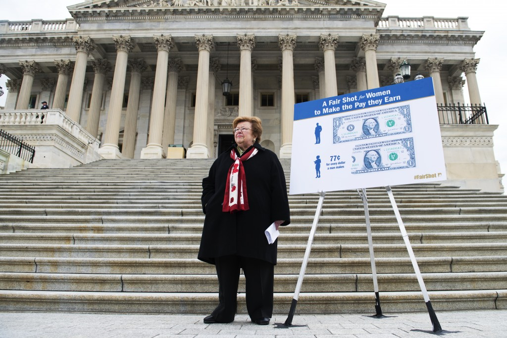 UNITED STATES - APRIL 02: Sen. Barbara Mikulski, D-Md., waits for her colleagues to arrive before a news conference on the Senate steps of the Capitol to support equal pay for women and an increase in the minimum wage. (Photo By Tom Williams/CQ Roll Call)