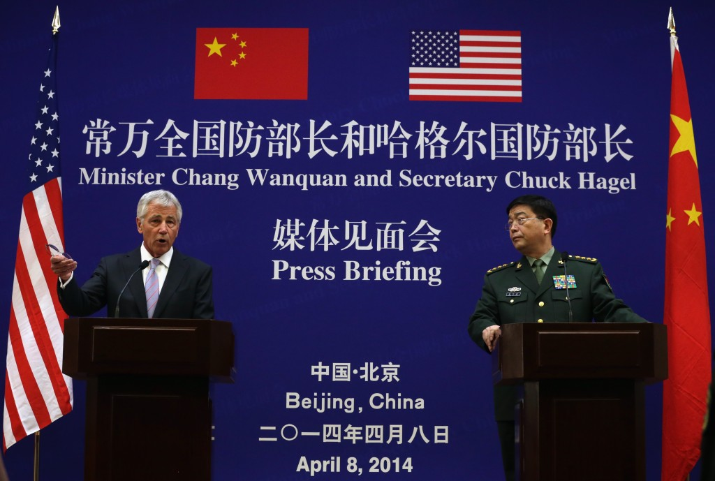 Defense Secretary Chuck Hagel, left, and Chinese Minister of Defense Chang Wanquan, right, participate in a joint news conference at the Chinese Defense Ministry headquarters in Beijing.