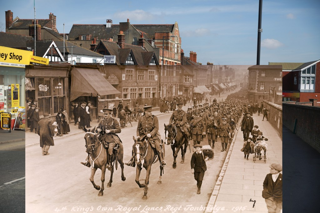 A vintage postcard shows the 4th King's Own Royal Lancers Regiment marching into Tonbridge, England during World War One, circa March 1915. Postcard image by Popperfoto/Getty Images. 2014 photo by Peter Macdiarmid/Getty Images