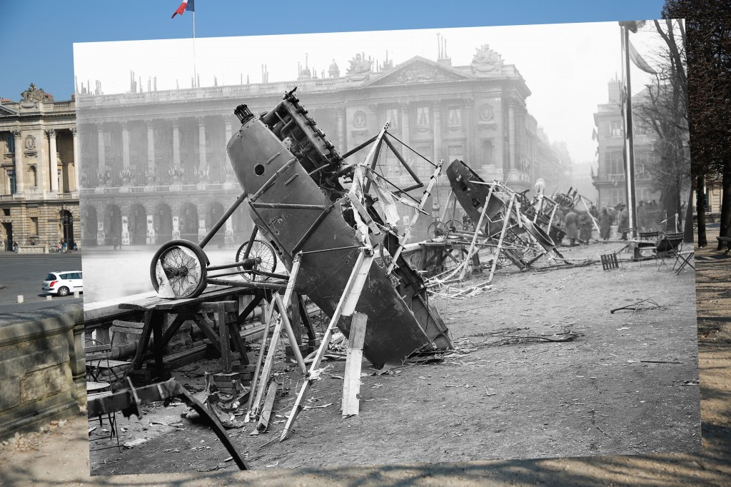 German airplanes at Place de la Concorde in Paris were wrecked by celebrating crowds on the day of the restoration of Alsace-Lorraine. November 18, 1918. 1918 photo by Maurice-Louis Branger/Roger Viollet/Getty Images. 2014 photo by Peter Macdiarmid/Getty Images