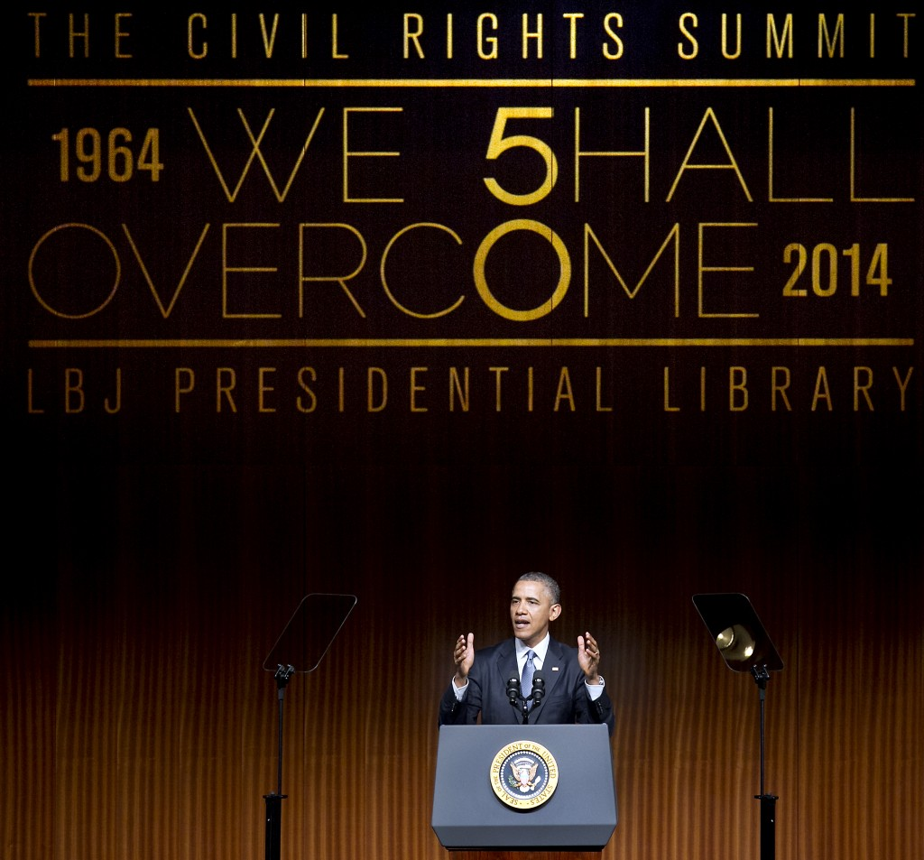 President Obama gives the keynote speech on the third day of the Civil Rights Summit at the LBJ Presidential Library in Austin, Texas Thursday. Photo by Laura Skelding-Pool/Getty Images