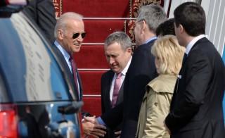U.S. Vice President Joe Biden shakes hands with Ukrainian ambassador Geoffrey R. Pyatt as Ukraine's Foreign Minister Andriy Deshchytsya looks on. Photo by Sergei Supinsky/AFP/Getty Images)