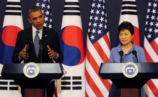 President Barack Obama and South Korean President Park Geun-Hye spoke at a joint press conference at the presidential Bule House in Seoul Friday. Obama voiced his concern a day after Israel broke off Mideast peace talks in protest of the Palestinian Authority and Hamas agreement. Photo by Song Kyung-Seok - Pool/Getty Images