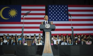 US President Barack Obama addresses young student leaders at the Young Southeast Asian Leadership Initiative (YSEALI) Town Hall during a visit to University of Malaya in Kuala Lumpur on April 27, 2014. Obama paid homage to Malaysia's moderate brand of Islam and picked his way through his hosts' contentious politics on April 27 on the latest leg of his Asian tour.      AFP PHOTO / Jim WATSON        (Photo credit should read JIM WATSON/AFP/Getty Images)