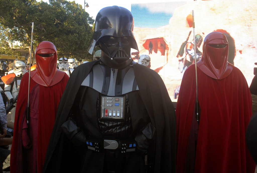 """Star Wars"" fans dressed as Darth Vader, Imperial Guards and other favorite  characters on April 30, 2014 on Avenue Habib Bourguiba in Tunis. Photo by Fethi BelaidAFP/Getty Images"