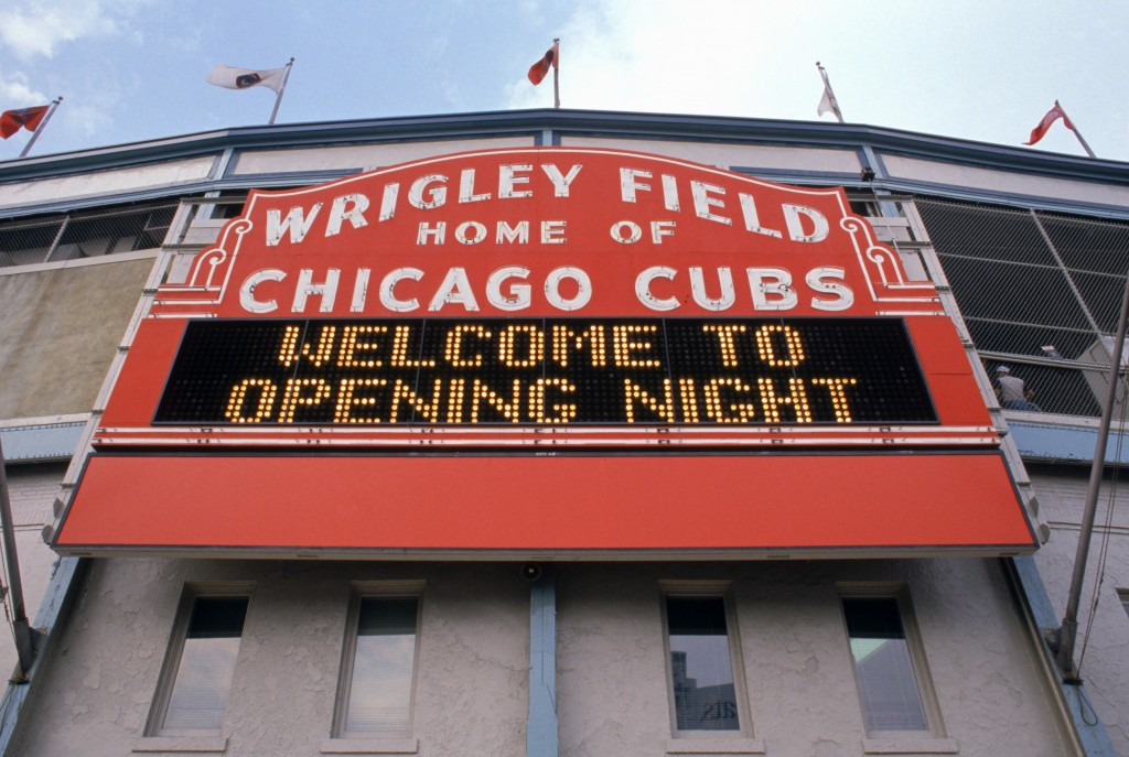 Exterior view of Wrigley Field's marquee welcoming fans for the home opening game between the Chicago Cubs and the Philadelphia Phillies at Wrigley Field on April 4, 1989 in Chicago, Illinois.  The Cubs won 5-4.  Photo by Jonathan Daniel/Getty Images