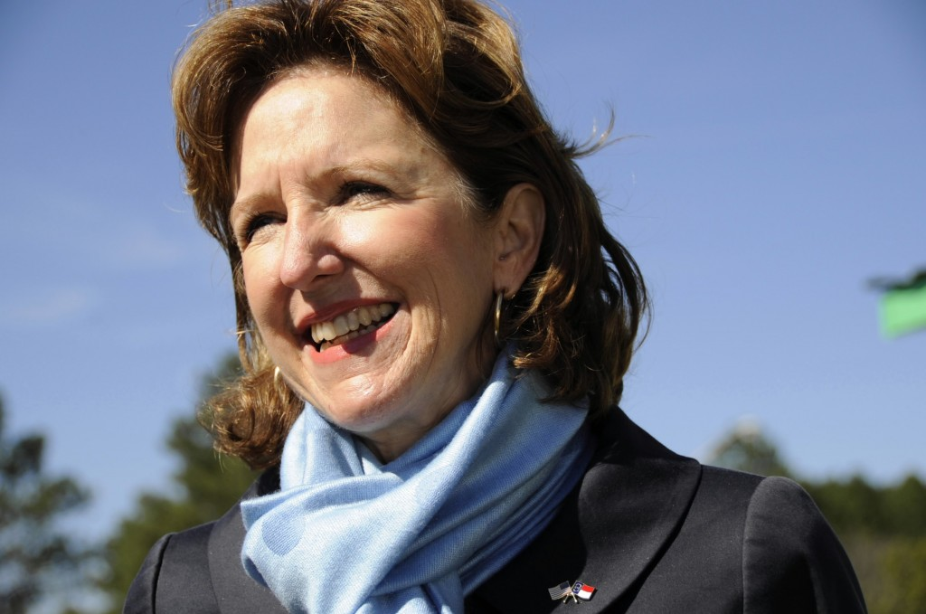 Democratic Sen. Kay Hagan of North Carolina is in a tight race with state House speaker Thom Tillis, one of four southern Senate contests that could determine control of Congress next year, according to a New York Times poll. Photo by Mary Knox Merrill/The Christian Science Monitor/Getty Images