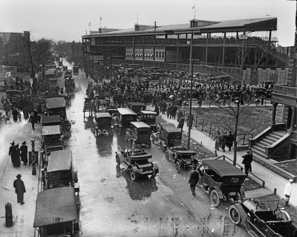 View of the traffic surrounding Wrigley Field, home of the National League's Chicago Cubs, as fans gather for a game, circa the 1920s.  Photo by Chicago History Museum/Getty Images