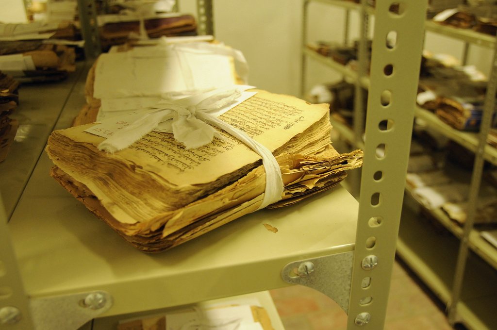 Ancient manuscripts, some dating back to the 14th century, are preserved in the Ahmed Baba Institute of Higher Learning in Timbuktu. The historical documents were written mostly in Arabic about religion, art, medicine, philosophy and science. Photo by Sophie Ravier/U.N. mission in Mali