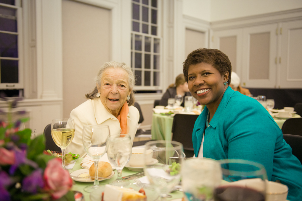 Gwen Ifill with Elsie Hillman at Chatham University's 2014 Elsie Hillman Chair in Women & Politics event. Photo by Anna Lee-Fields