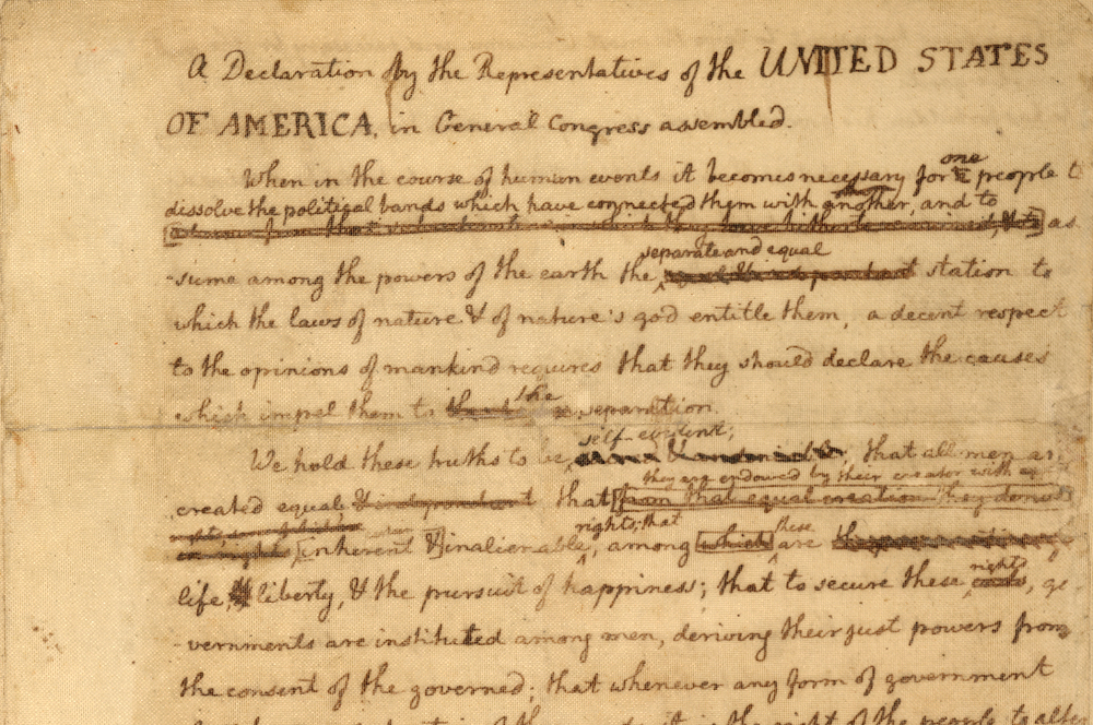 A draft of the Declaration of Independence as prepared by Thomas Jefferson's, with notes from Benjamin Franklin. Image from the Library of Congress