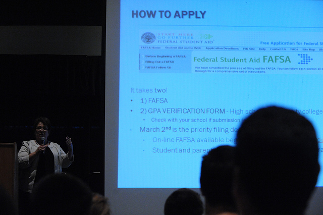 Students learn about how to apply for financial aid at a California State University Fullerton seminar.