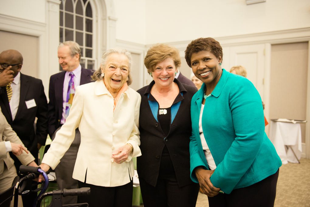 Elsie Hillman, left, Chatham University President Esther L. Barazzone and Gwen Ifill at the 2014 Elsie Hillman Chair in Women & Politics event. Photo by Anna Lee-Fields