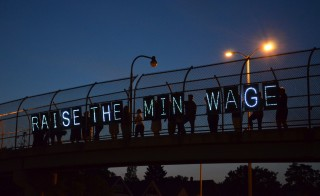 Nonprofit workers don't want to be left out of the fight for higher wages, but also realize that higher wages could come at the expense of some of their jobs and the services they provide. Above protesters in Wisconsin demonstrate for a higher minimum wage. Photo by Flickr user Wisconsin Jobs Now