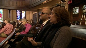U.S. Poet Laureate Natasha Trethewey sits in a Galloway Memorial United Methodist Church in Jackson, Miss. after visiting Medgar Evers' home and Tougaloo College